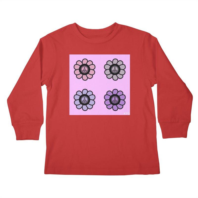 Flower Power and Peace Kids Longsleeve T-Shirt by Karmic Reaction Art