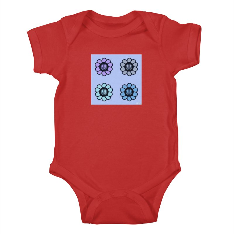 Flower Power and Peace 2 Kids Baby Bodysuit by Karmic Reaction Art