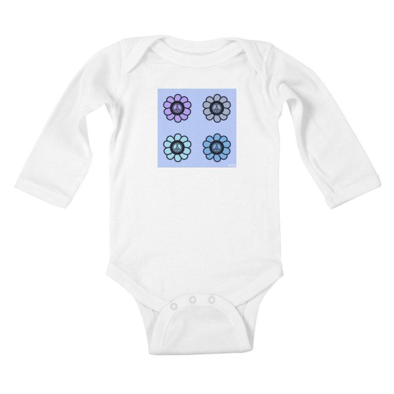 Flower Power and Peace 2 Kids Baby Longsleeve Bodysuit by Karmic Reaction Art