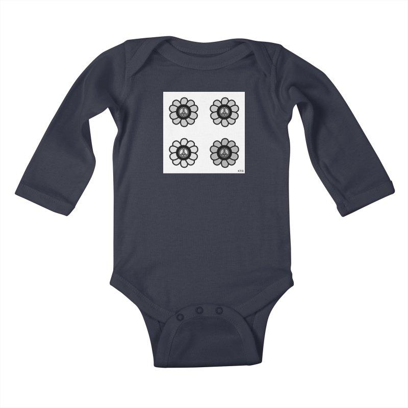Flower Power and Peace 3 Kids Baby Longsleeve Bodysuit by Karmic Reaction Art