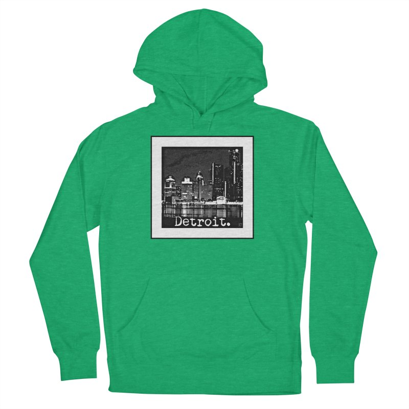Detroit: Black and White 1 Men's French Terry Pullover Hoody by Karmic Reaction Art