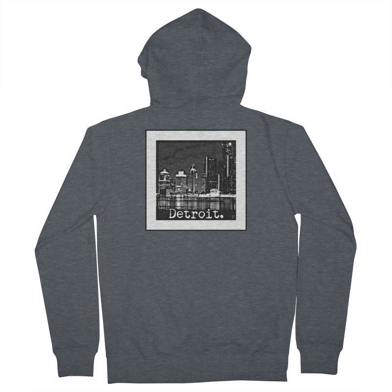 Detroit: Black and White 1 Women's French Terry Zip-Up Hoody by Karmic Reaction Art
