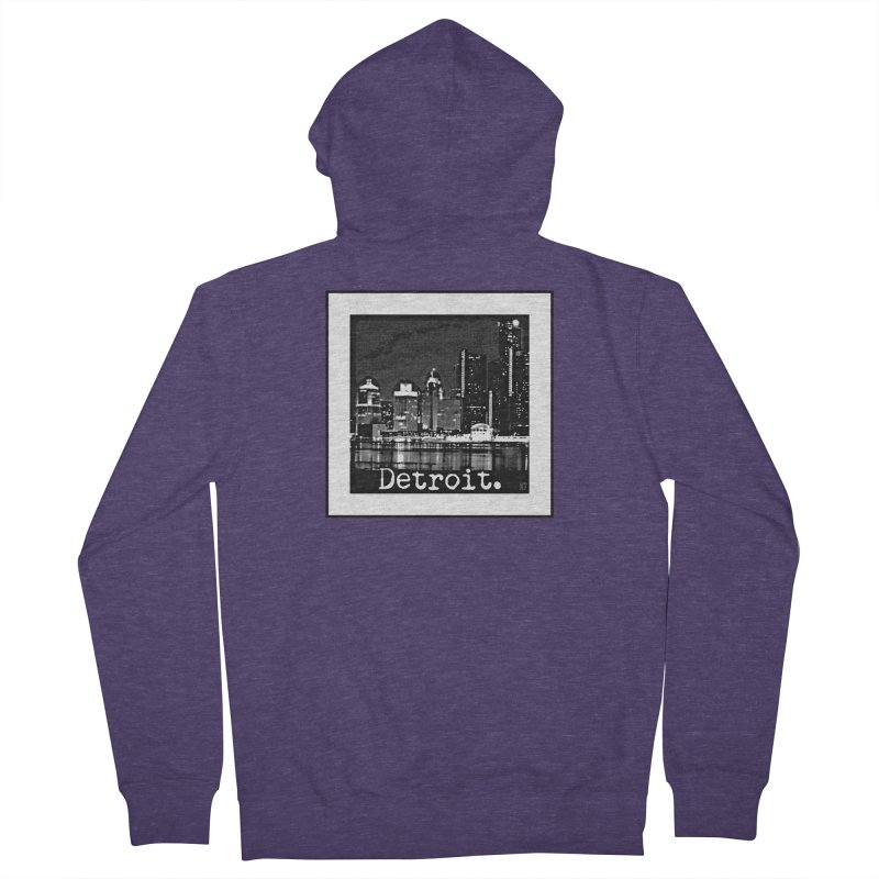 Detroit: Black and White 1 Men's French Terry Zip-Up Hoody by Karmic Reaction Art