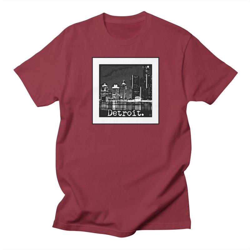Detroit: Black and White 1 Men's Regular T-Shirt by Karmic Reaction Art