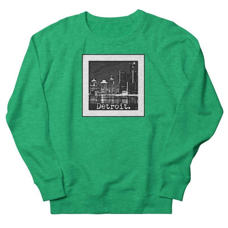 Detroit: Black and White 1 Men's French Terry Sweatshirt by Karmic Reaction Art