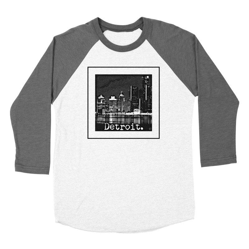 Detroit: Black and White 1 Men's Baseball Triblend Longsleeve T-Shirt by Karmic Reaction Art