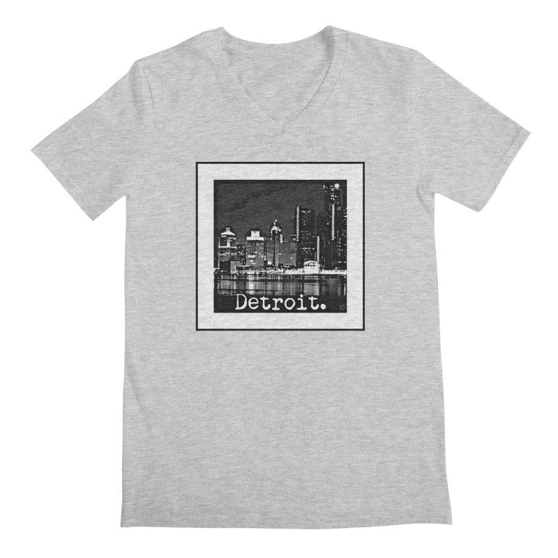 Detroit: Black and White 1 Men's Regular V-Neck by Karmic Reaction Art