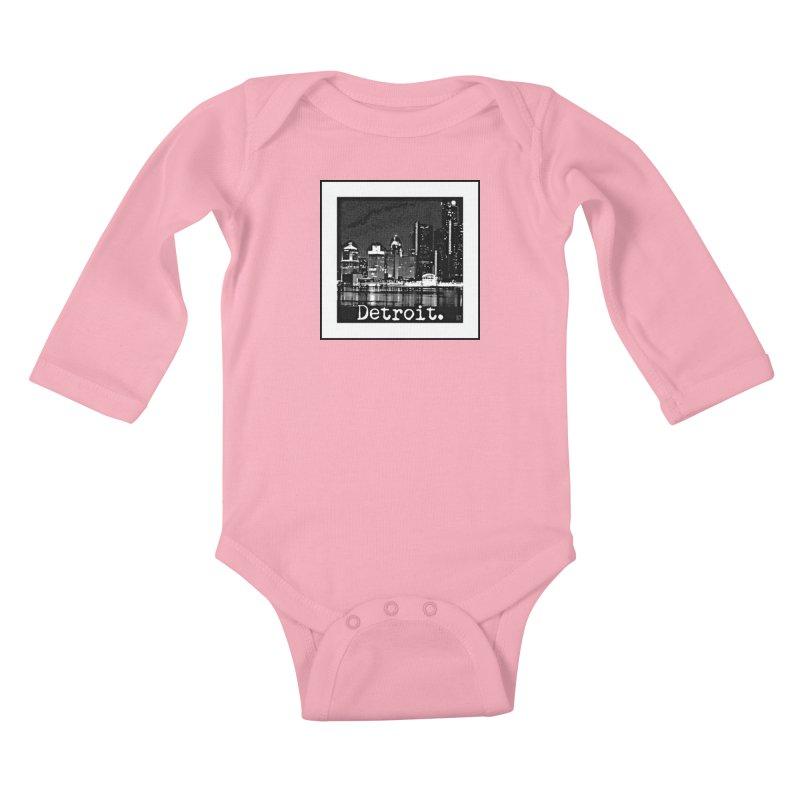 Detroit: Black and White 1 Kids Baby Longsleeve Bodysuit by Karmic Reaction Art