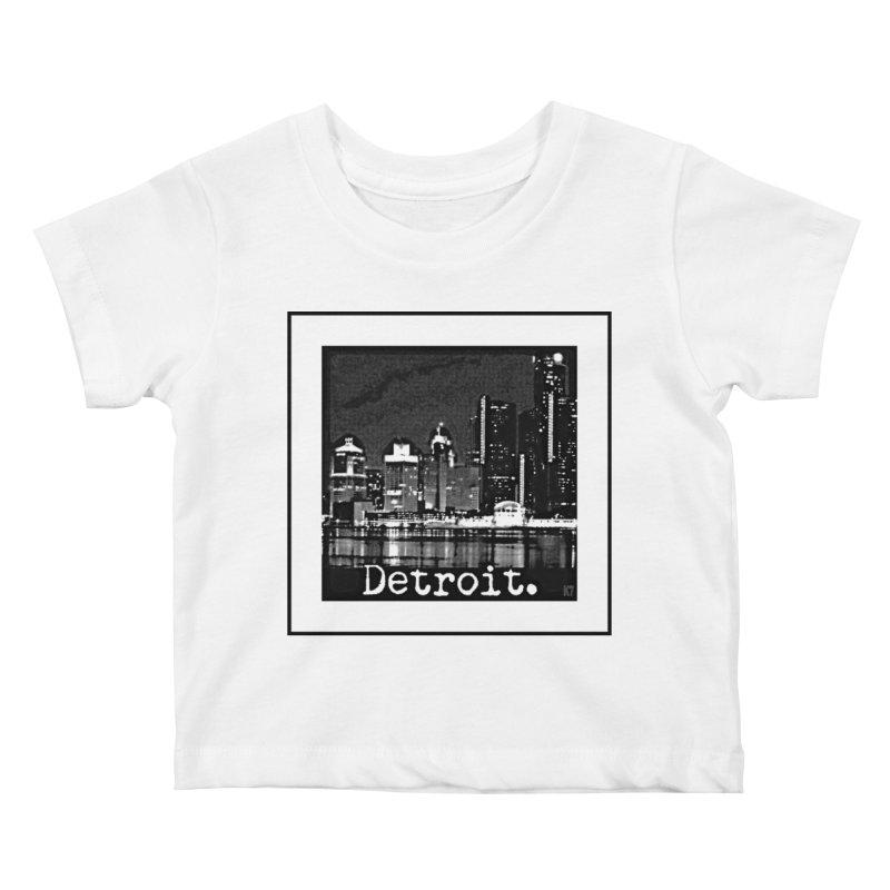 Detroit: Black and White 1 Kids Baby T-Shirt by Karmic Reaction Art