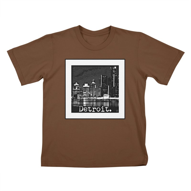Detroit: Black and White 1 Kids T-Shirt by Karmic Reaction Art