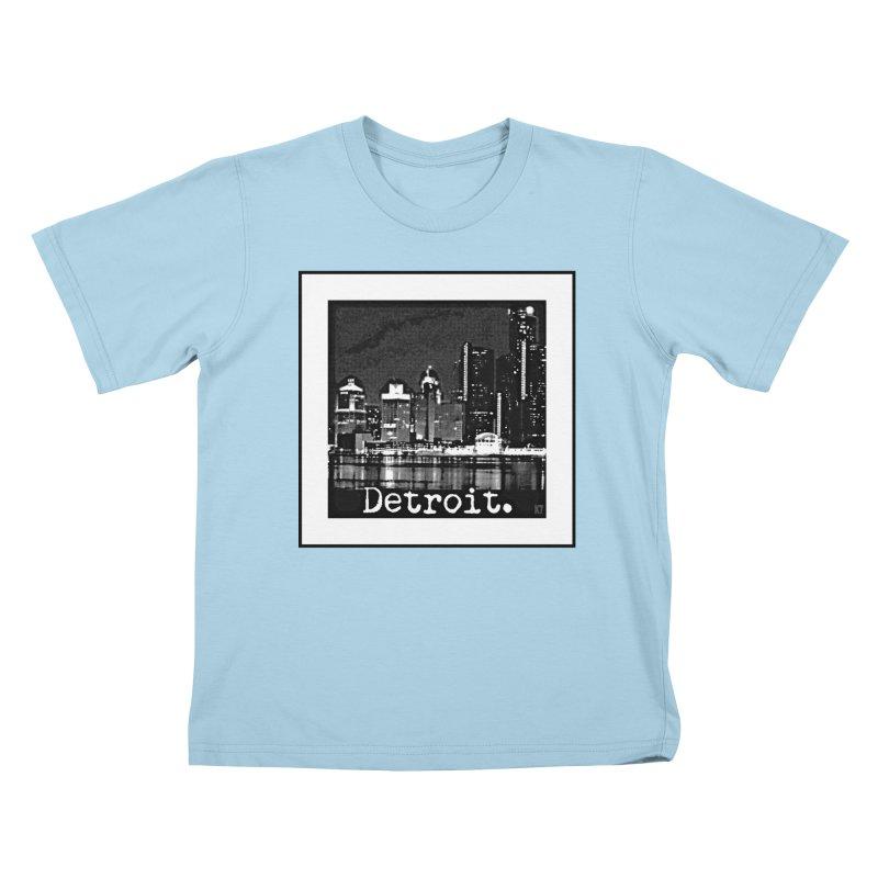 Detroit: Black and White 1 Kids T-Shirt by Karmic Reaction Art