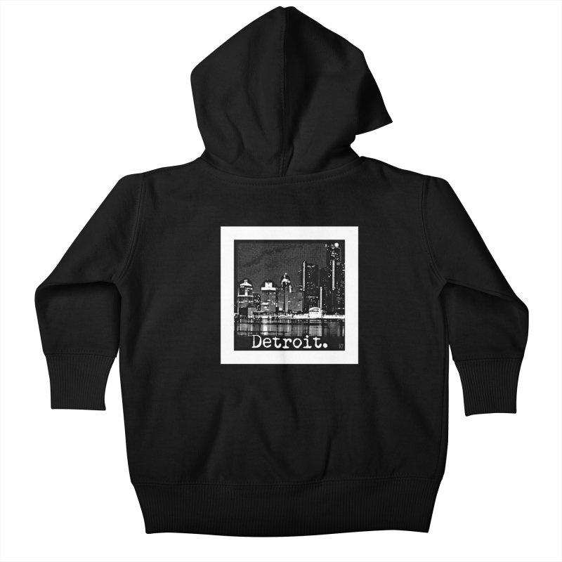 Detroit: Black and White 1 Kids Baby Zip-Up Hoody by Karmic Reaction Art