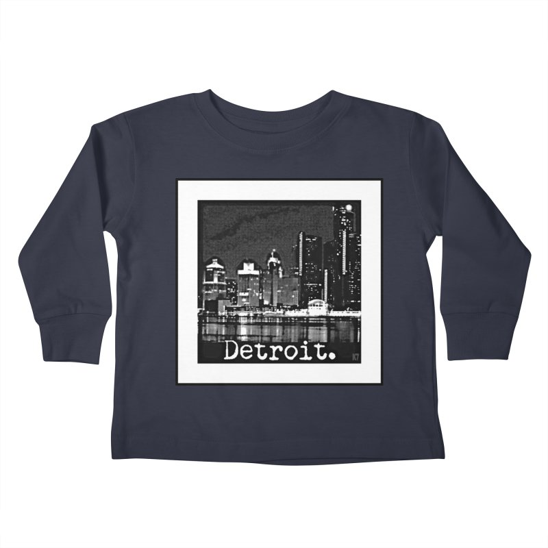 Detroit: Black and White 1 Kids Toddler Longsleeve T-Shirt by Karmic Reaction Art