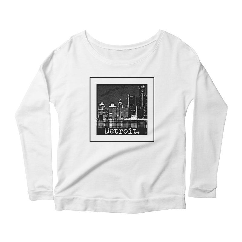 Detroit: Black and White 1 Women's Scoop Neck Longsleeve T-Shirt by Karmic Reaction Art