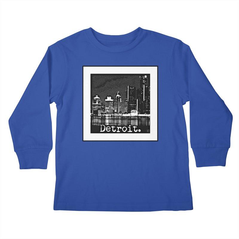 Detroit: Black and White 1 Kids Longsleeve T-Shirt by Karmic Reaction Art