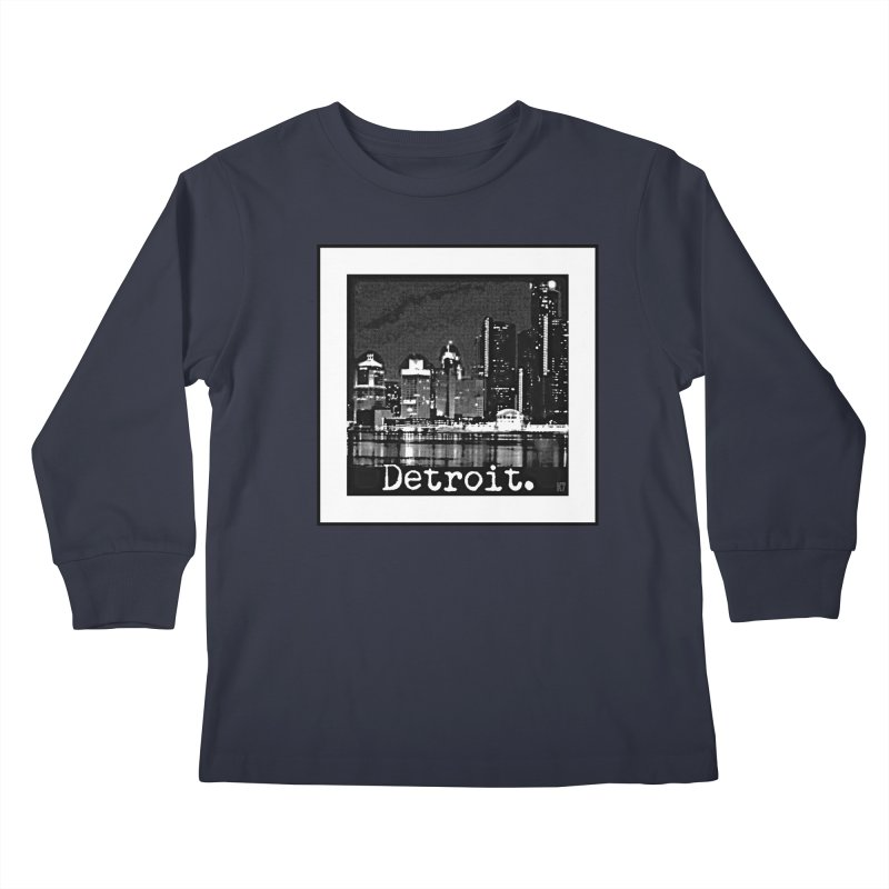 Detroit: Black and White 1 Kids Longsleeve T-Shirt by Karmic Reaction Art