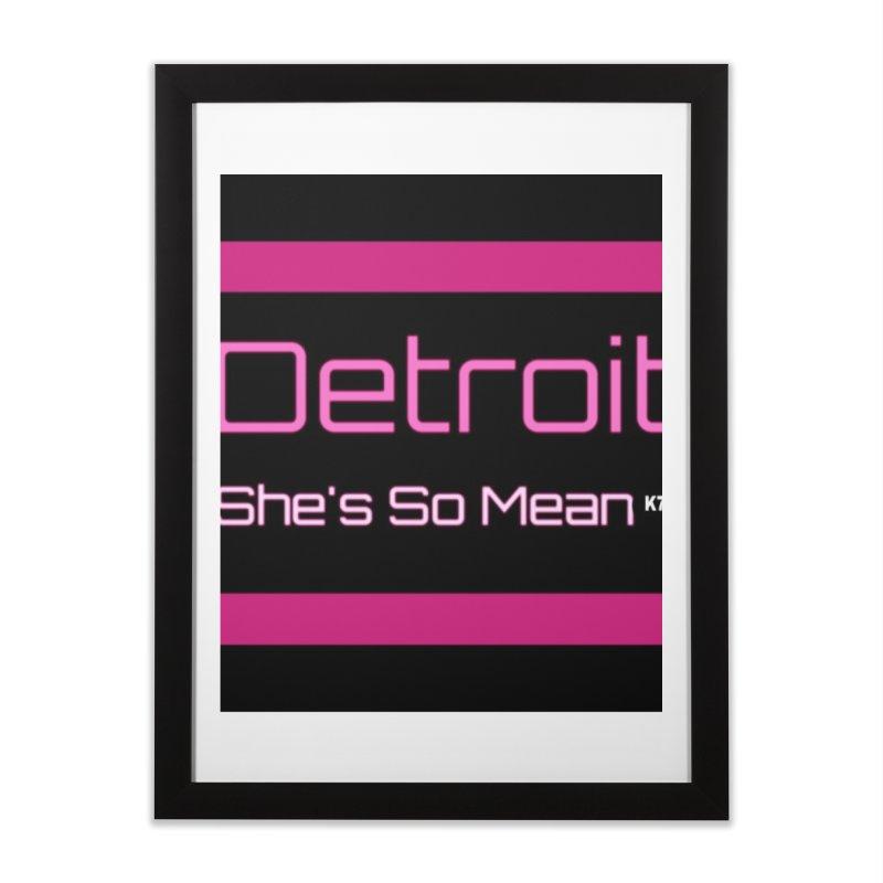 Detroit: She's So Mean Pink Home Framed Fine Art Print by Karmic Reaction Art