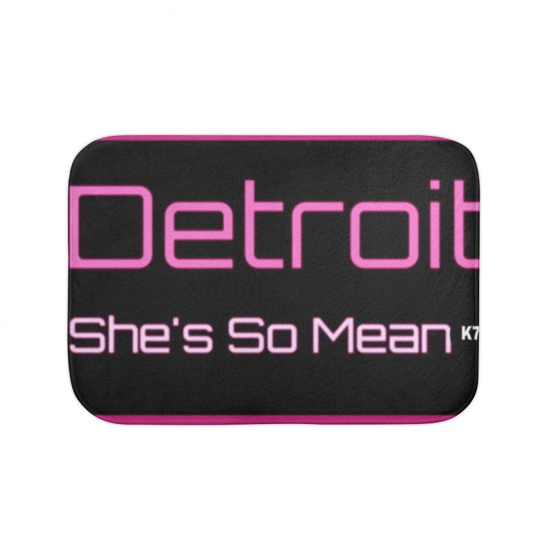 Detroit: She's So Mean Pink Home Bath Mat by Karmic Reaction Art