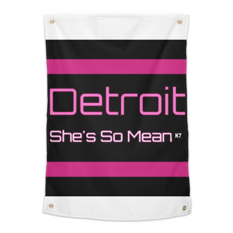 Detroit: She's So Mean Pink Home Tapestry by Karmic Reaction Art