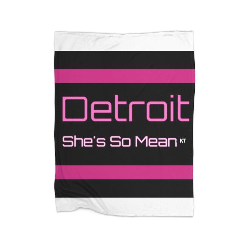 Detroit: She's So Mean Pink Home Fleece Blanket Blanket by Karmic Reaction Art