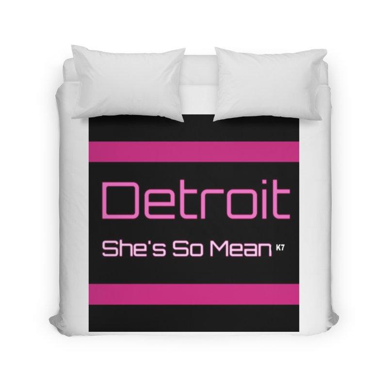 Detroit: She's So Mean Pink Home Duvet by Karmic Reaction Art