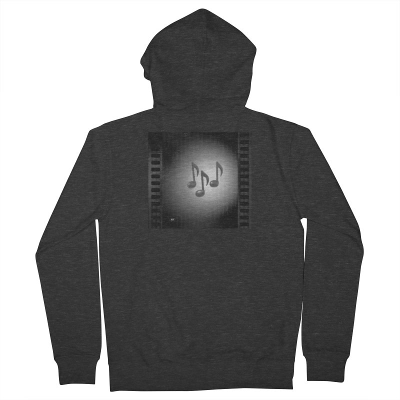 Music: Black and White Women's French Terry Zip-Up Hoody by Karmic Reaction Art