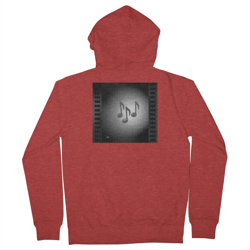 Music: Black and White Men's French Terry Zip-Up Hoody by Karmic Reaction Art