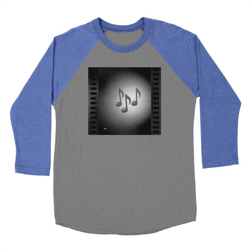 Music: Black and White Men's Baseball Triblend Longsleeve T-Shirt by Karmic Reaction Art