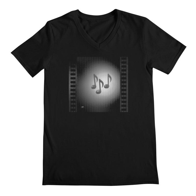 Music: Black and White Men's Regular V-Neck by Karmic Reaction Art