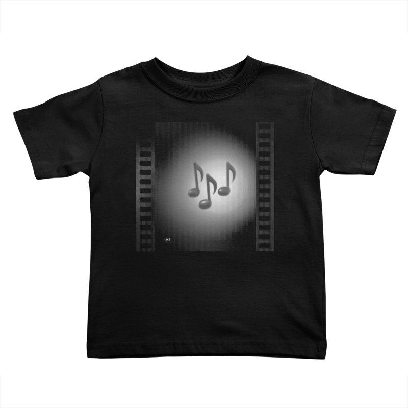 Music: Black and White Kids Toddler T-Shirt by Karmic Reaction Art