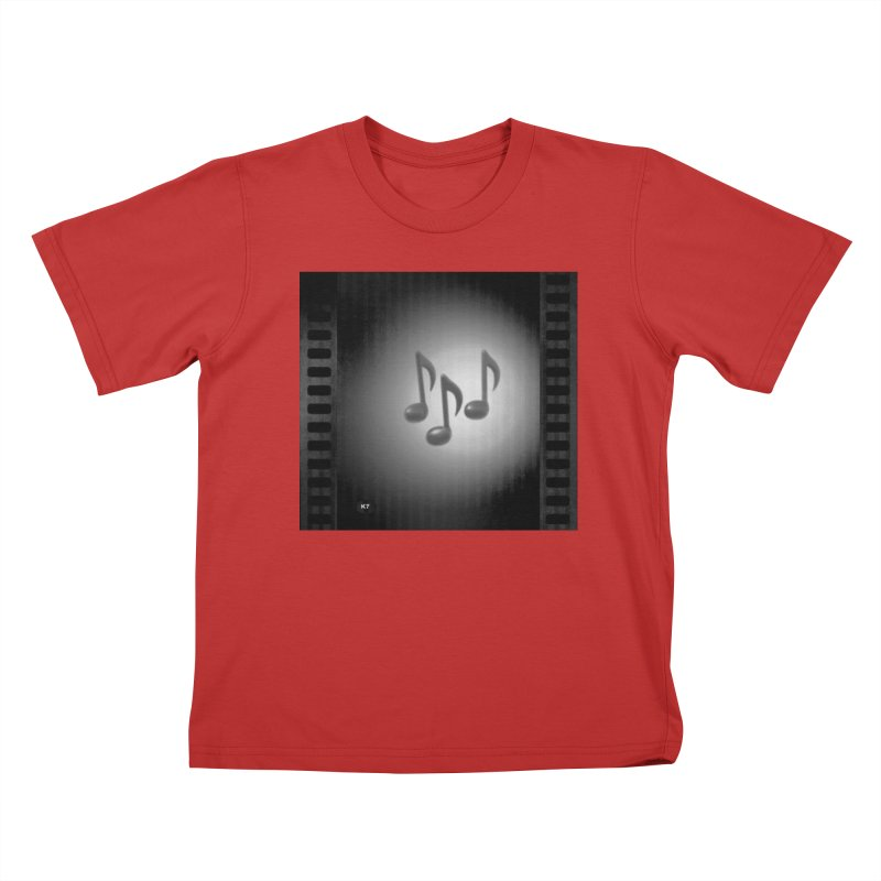 Music: Black and White Kids T-Shirt by Karmic Reaction Art