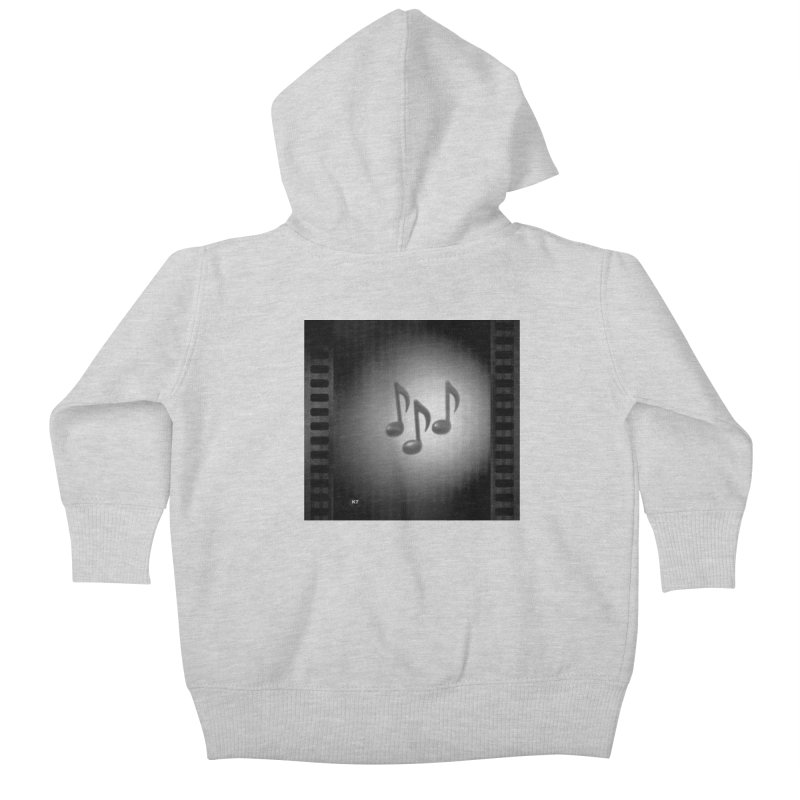 Music: Black and White Kids Baby Zip-Up Hoody by Karmic Reaction Art