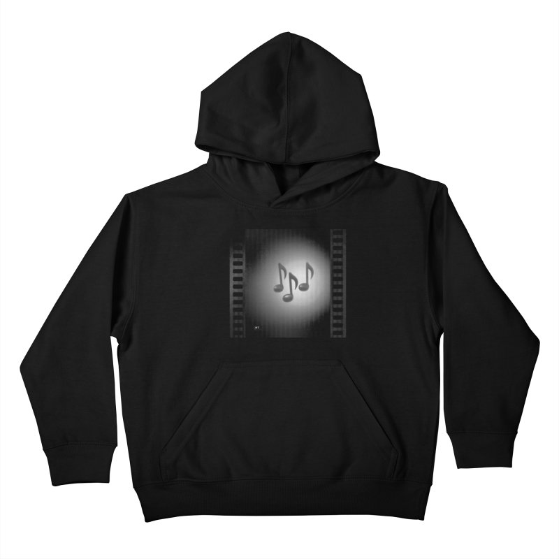 Music: Black and White Kids Pullover Hoody by Karmic Reaction Art