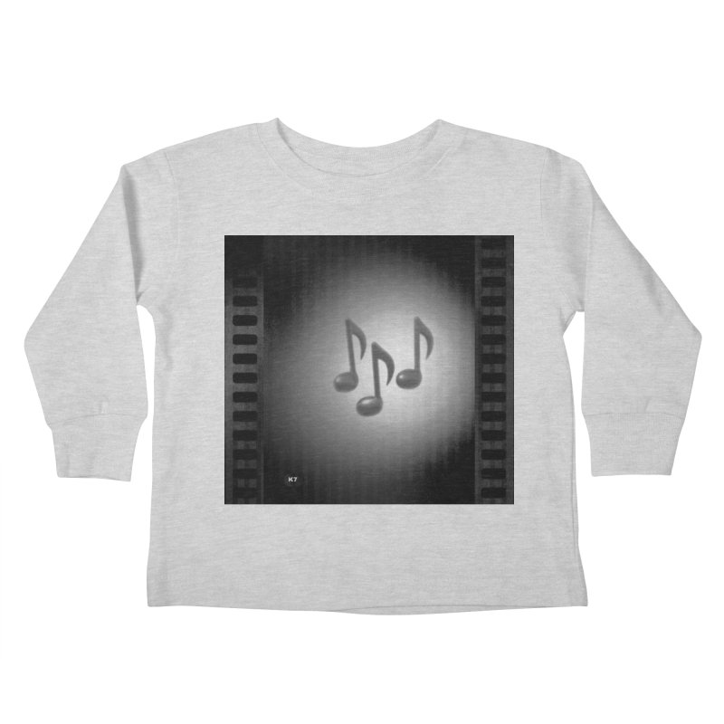 Music: Black and White Kids Toddler Longsleeve T-Shirt by Karmic Reaction Art