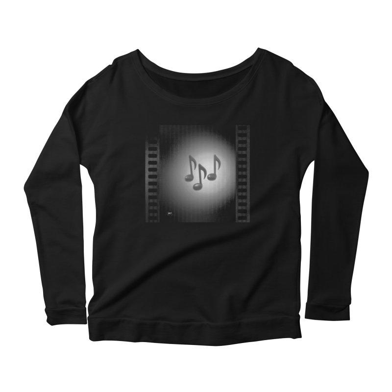 Music: Black and White Women's Scoop Neck Longsleeve T-Shirt by Karmic Reaction Art
