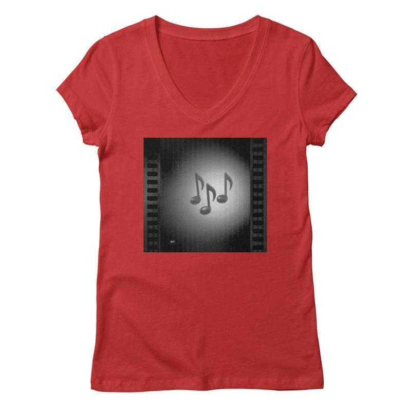 Music: Black and White Women's Regular V-Neck by Karmic Reaction Art