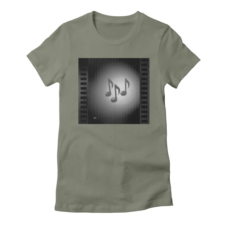 Music: Black and White Women's Fitted T-Shirt by Karmic Reaction Art