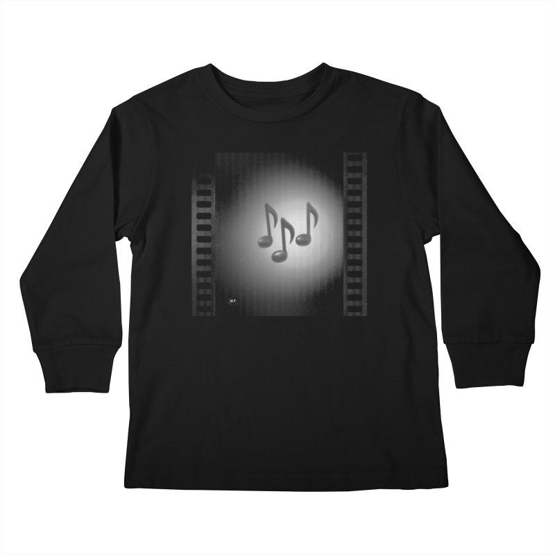Music: Black and White Kids Longsleeve T-Shirt by Karmic Reaction Art