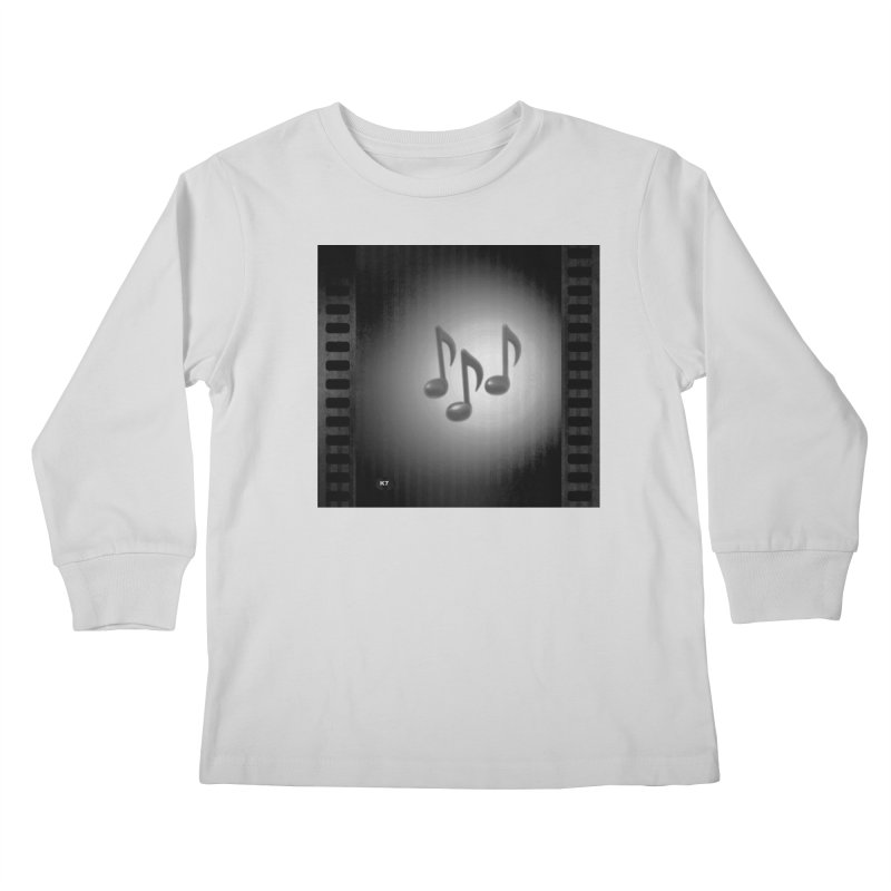 Music: Black and White Kids Longsleeve T-Shirt by Karmic Reaction Art