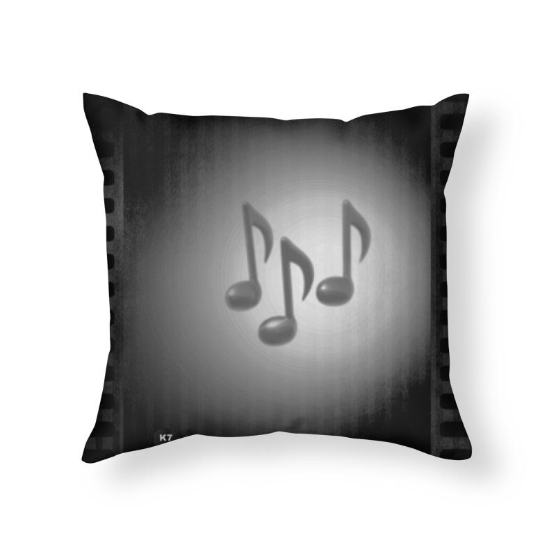 Music: Black and White Home Throw Pillow by Karmic Reaction Art
