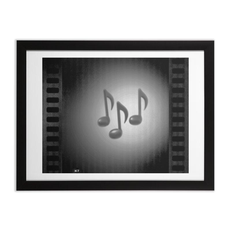 Music: Black and White Home Framed Fine Art Print by Karmic Reaction Art