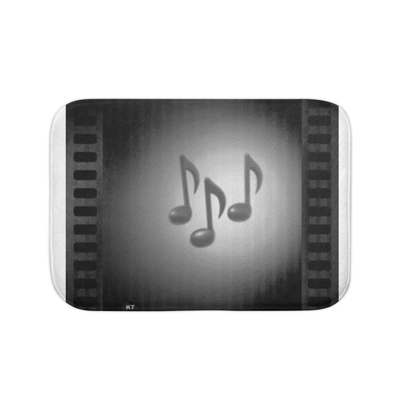 Music: Black and White Home Bath Mat by Karmic Reaction Art