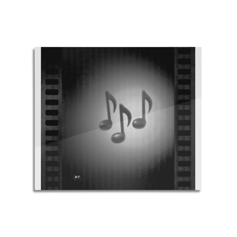 Music: Black and White Home Mounted Aluminum Print by Karmic Reaction Art