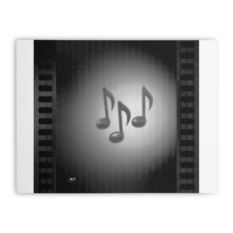 Music: Black and White Home Stretched Canvas by Karmic Reaction Art