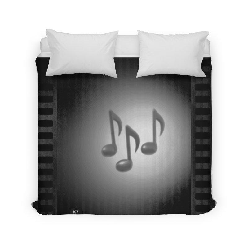 Music: Black and White Home Duvet by Karmic Reaction Art