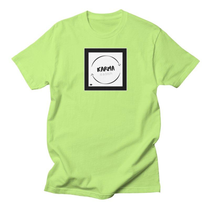 Karma Is A Bitch: Black and White Women's Regular Unisex T-Shirt by Karmic Reaction Art