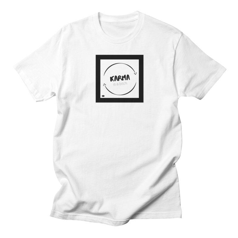 Karma Is A Bitch: Black and White Men's Regular T-Shirt by Karmic Reaction Art