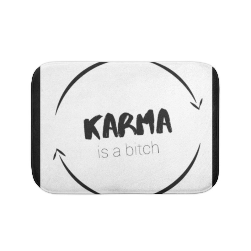Karma Is A Bitch: Black and White Home Bath Mat by Karmic Reaction Art