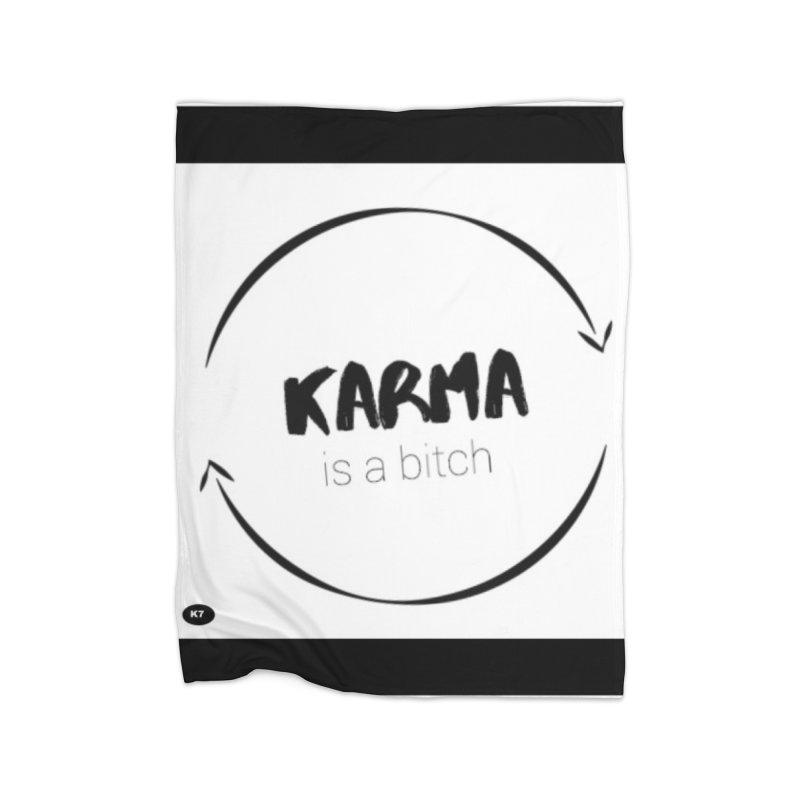 Karma Is A Bitch: Black and White Home Fleece Blanket Blanket by Karmic Reaction Art