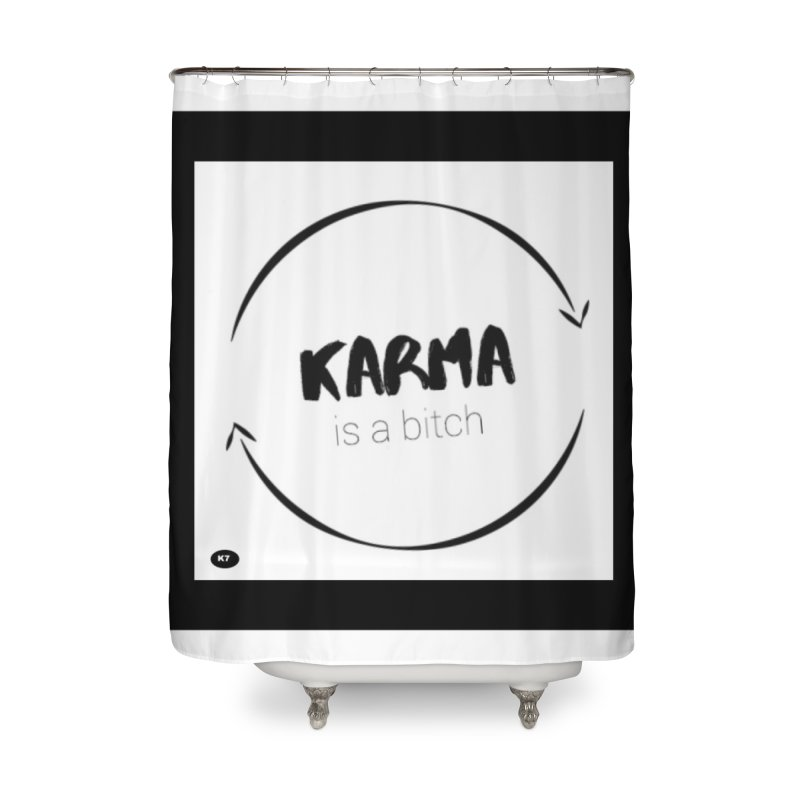 Karma Is A Bitch: Black and White Home Shower Curtain by Karmic Reaction Art